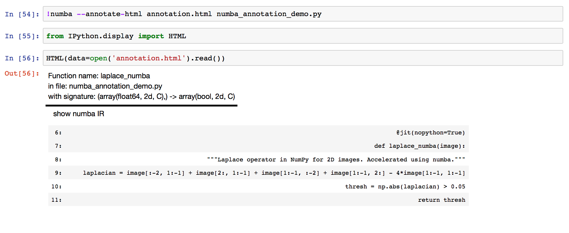 Numba HTML annotations